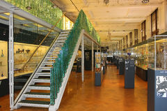 Hall with a collection of artistic glassware, Victoria and Albert Museum, London Stock Photo