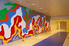 Hall of colors. Hall decorated with multiple colors on the wall stock images