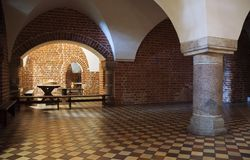 Hall with column stock photo