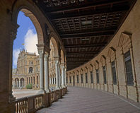 Hall with columns in the Plaza of Spain in Seville Royalty Free Stock Images
