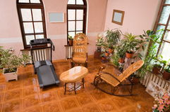 Hall in a cottage. Vacation spot and sports trainings Royalty Free Stock Images