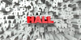 HALL - Czerwony tekst na typografii tle - 3D odpłacający się królewskość bezpłatny akcyjny wizerunek Ilustracja Wektor