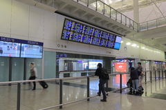 Hall d'arrivée d'aéroport international de Hong Kong Images libres de droits