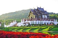 Hall d'or, la borne limite de Chiang Mai, Thaïlande Image stock