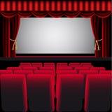 Hall de cinéma avec le rideau rouge Photos stock