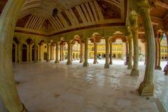 Hall de Collumned dans Sattais Katcheri en Amber Fort près de Jaipur, Ràjasthàn, Inde Amber Fort est la touriste principale Photo libre de droits