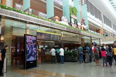 Hall de départ dans le terminal 3 dans l'aéroport de Changi Photographie stock