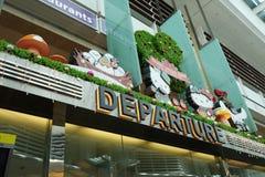 Hall de départ dans le terminal 3 dans l'aéroport de Changi Photos libres de droits