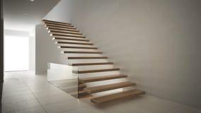 Hall de entrada moderno con la escalera de madera, blanco minimalista internacional Imagenes de archivo