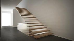 Hall de entrada moderno con la escalera de madera, blanco minimalista y Foto de archivo libre de regalías