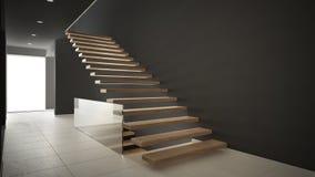 Hall de entrada moderno con la escalera de madera, blanco minimalista y Imagenes de archivo