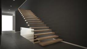 Hall de entrada moderno con la escalera de madera, inte gris minimalista Fotos de archivo libres de regalías
