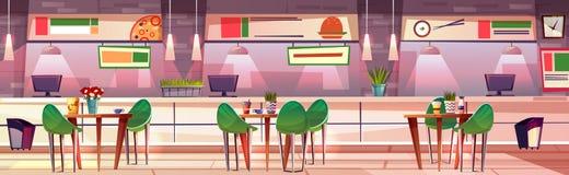 Hall de l'espace restauration dans l'illustration de vecteur de boutique de mail illustration libre de droits