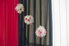 Hall decoration three pompoms of flowers Royalty Free Stock Photos