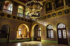 Hall der Ehre mit Herald Collection der Cantacuzin-Dynastie in Cantacuzino-Palast, Busteni stockfoto