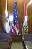 Hall des drapeaux, hommage à la La Rabida de toutes les nations des Amériques, au ½ du 15ème siècle de ¿ de Monasterio De Santa M Images libres de droits