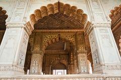 Hall des Publikums, rotes Fort, altes Delhi, Indien. stockfotografie