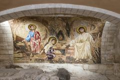Hall in the dungeon under the St. Joseph`s Church wall in the old city of Nazareth in Israel. Nazareth, Israel, December 23, 2017 : Hall in the dungeon under the royalty free stock photography