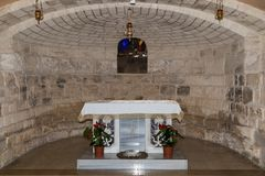 Hall in the dungeon under the St. Joseph`s Church wall in the old city of Nazareth in Israel. Nazareth, Israel, December 23, 2017 : Hall in the dungeon under the royalty free stock photos