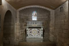 Hall in the dungeon under the St. Joseph`s Church wall in the old city of Nazareth in Israel. Nazareth, Israel, December 23, 2017 : Hall in the dungeon under the stock photography