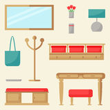 Hall elements set. Hallway interior design. Stock Images