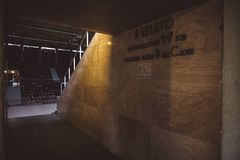Hall at the entrance to the sport center Gerevich Aladar Nemzeti in Budapest. Project Budapest 100 royalty free stock image