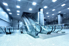 Hall with escalators Stock Photos