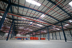 Hall factory. New large hall in factory stock photography
