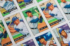 Baseball Legends United States Postage Stamps. Hall of Fame Baseball Legends issued USPS postage stamps Royalty Free Stock Photo