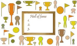 Hall of fame concept with free blank copy space. Cups, medals and badges with white space in the wooden frame mockup stock illustration