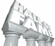 Hall of Fame Words Marble Columns Famous Celebrity Legendary Ind Stock Image