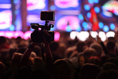 Hall with fans shoots video Stock Photography