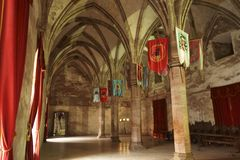 Hall of festivities - Corvin Castle or Hunyadi Castle Castelul Corvinilor sau Castelul Huniazilor, Hunedoara, Romania. Hall of festivities - Corvin Castle or stock photos
