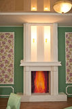Hall with a fireplace. Royalty Free Stock Images