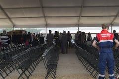 Hall funèbre pour des victimes de tremblement de terre d'Amatrice et d'Accumuli, Italie Image stock