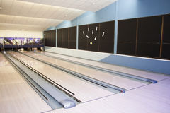 Hall for game in bowling. Hall of the tracks for playing bowling Stock Photography