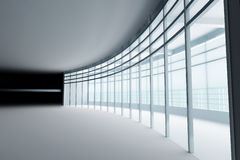Hall with glass windows vector illustration