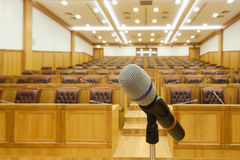 Hall government meetings. Microphone side view Royalty Free Stock Photography