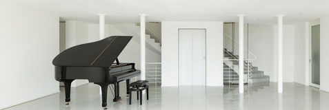Hall with grand piano Royalty Free Stock Images