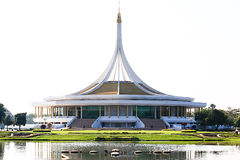 Hall of HM The King Honor Celebration. At Rama IX Royal Garden in the morning time royalty free stock images