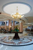 Hall in hotel with marble floor stock image
