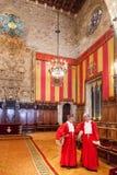 Hall i stadshus i Barcelona Arkivfoton