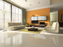 Hall interior. Interior of the room with sofa, colour shade and reflection in floor royalty free stock photography