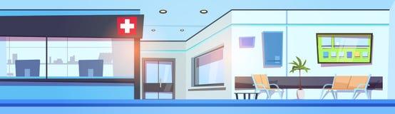 Hall Interior Clinic Waiting Room för tomt sjukhus horisontalbaner stock illustrationer