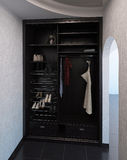 Hall interior design closet system, 3D render Stock Photos