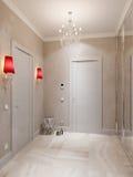 Hall Interior Design moderne avec le plancher de tuiles et le beige de marbre Images libres de droits