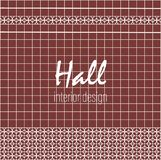 Hall interior design. Text on tile. Red brown square tiles with decor. stock illustration
