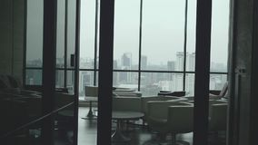 Hall Interior View. With huge windows and great view over city stock footage