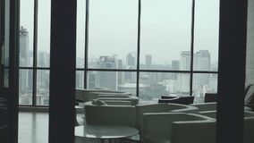 Hall Interior View. With huge windows and great view over city stock video footage