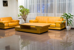 Hall interior with yellow furniture Royalty Free Stock Photos